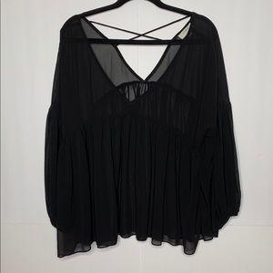 Umgee Black Semi Sheer Babydoll Top Size Large